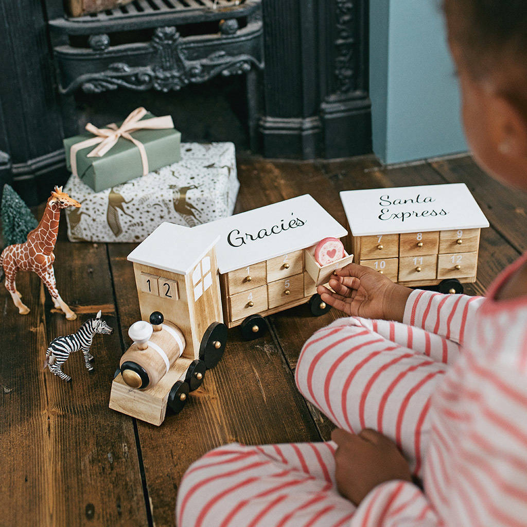 Personalised Wooden Train Advent Calendar by Lisa Angel