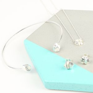 Marble And Silver Hexagonal Jewellery Set