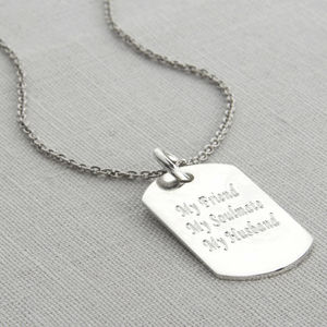 Personalised Polished Sterling Silver Dog Tag Necklace - necklaces