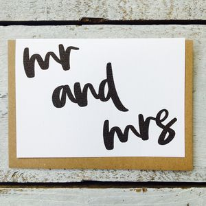 'Mr And Mrs' Mono Flow Card - wedding cards & wrap
