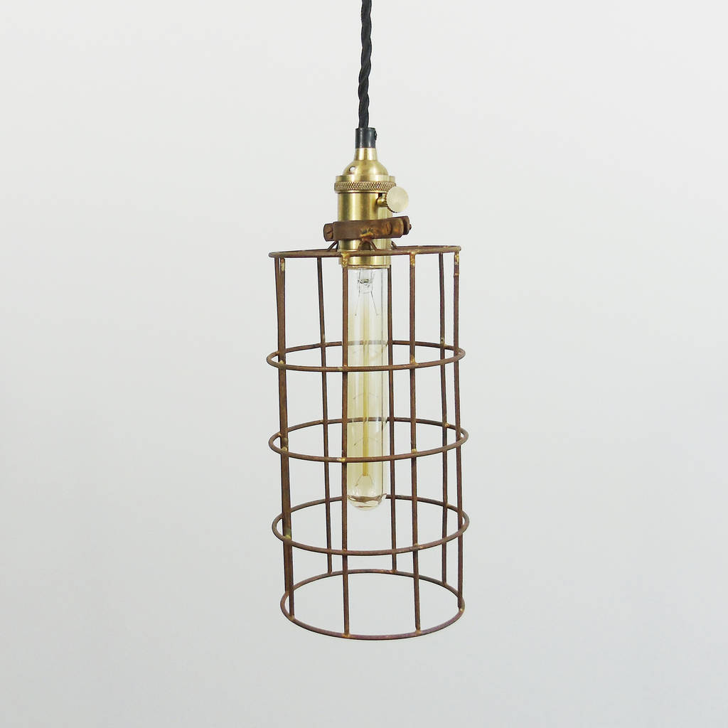 Industrial Rusted Wire Pendant Light   Cylinder   ORIGINAL Design