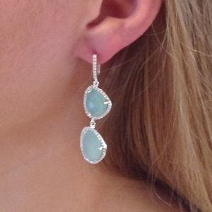 Aqua Chalcedony Gemstone Diamante Earrings