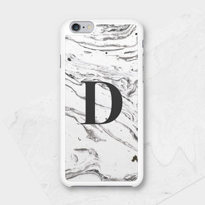 Monochrome Marble Personalised Initial Phone Case