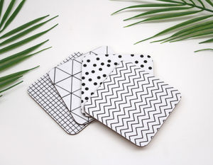 Set Of Geometric Monochrome Coasters