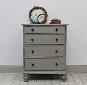 Distressed Painted Mahogany Four Drawer Chest - what's new