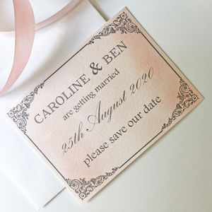 Blush And Grey Wedding Save The Dates
