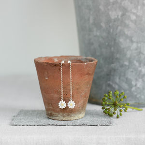 Daisy And Chain Earrings In Solid Silver And 18ct Gold - earrings