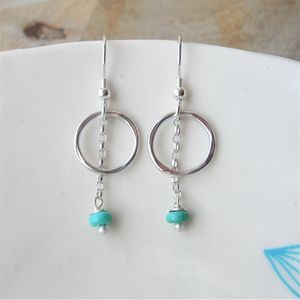 Turquoise Pebble Earrings - december birthstone