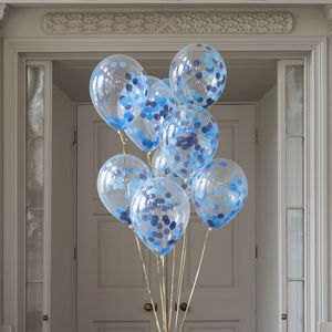 Pack Of 14 Peacock Blue Confetti Balloons - balloons