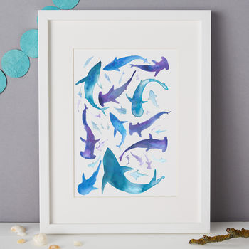 Frenzy Of Sharks Illustration Giclee Print