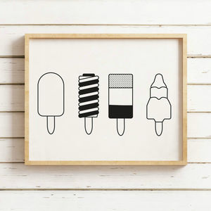 Black And White Ice Lollies Print - posters & prints
