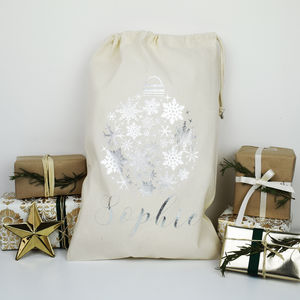 Personalised Bauble Silver Print Christmas Sack - stockings & sacks