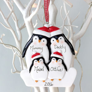 Personalised Penguin Family Decoration - baubles & hanging decorations