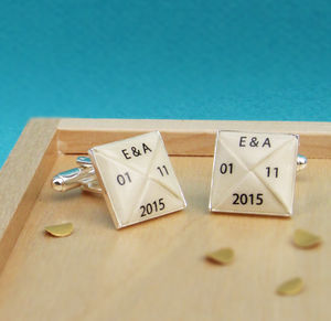 Paper Anniversary Personalised Cufflinks - men's accessories