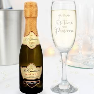 Mini Prosecco And Personalised Glass Set - wines, beers & spirits