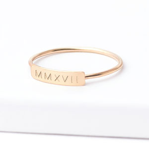 Personalised Skinny Bar Ring