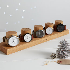 Solid Oak Watch Stand For Five Watches - bedroom