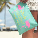 Flamingo 'Holiday Essentials' Mint Travel Pouch