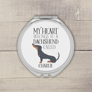 Personalised My Heart Belongs To A Dachshund Mirror