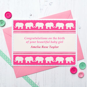 'Elephants' Baby Girl Personalised New Baby Card