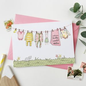 Personalised Pink New Baby Washing Line Card