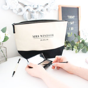 'Mrs' Wedding Day Cosmetic Bag - the morning of the big day