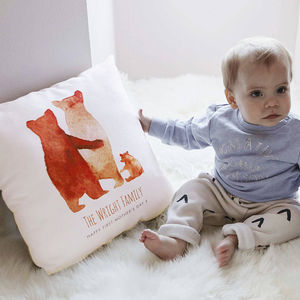Personalised First Mother's Day Bear Family Cushion - baby's room