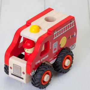 Childrens Fire Engine Wooden Toys - traditional toys & games