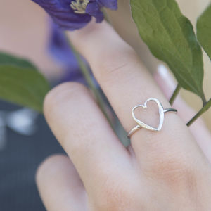 Silver Small Open Heart Textured Ring