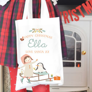 Personalised Girl's Christmas Bag 'Winter Fun' - cards & wrap