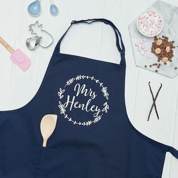 Personalised Mrs Wreath Kitchen Apron