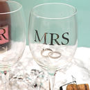 Engraved Mr And Mrs Wedding Wine Glass