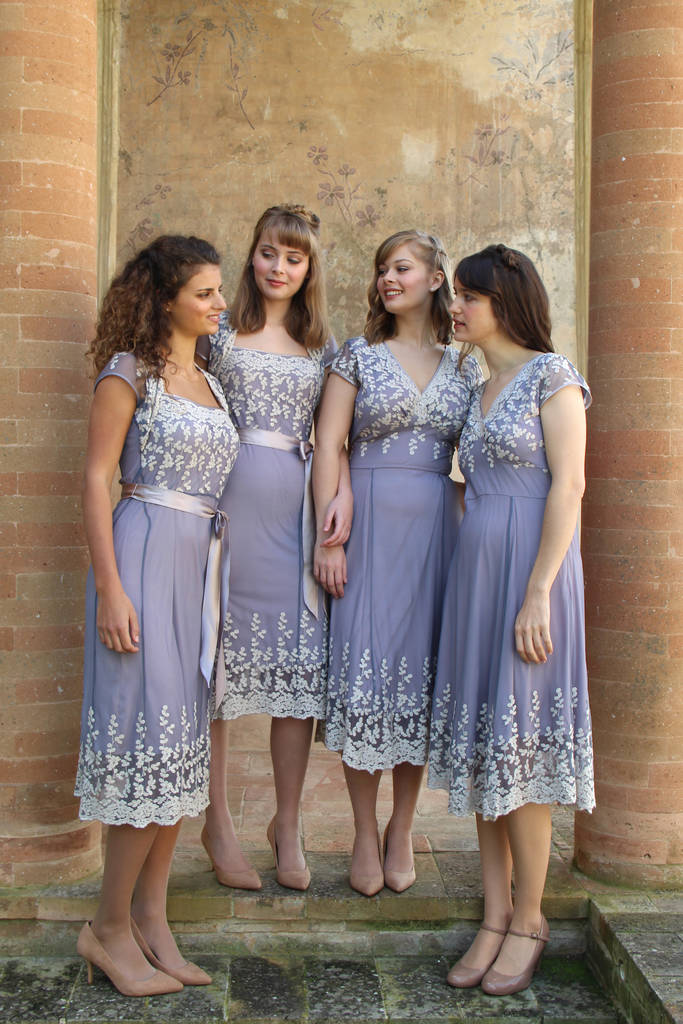 Bespoke Lace Bridesmaid Dresses In Periwinkle Blue