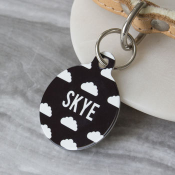 Personalised Clouds Pet Tag Bauble Shaped
