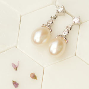 Embellished Freshwater Drop Pearl Earrings - earrings