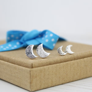 Silver Mini Me Moon Stud Set