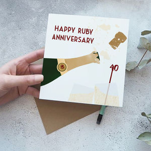 40th Ruby Wedding Anniversary Card