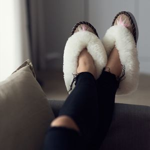 White Sheepskin Slippers With Rose Gold Embroidery - shoes