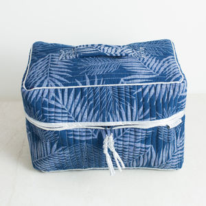 Navy Leaf Print Vanity Bag