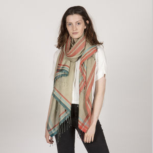 Handwoven Shawl With Contrast Border - scarves
