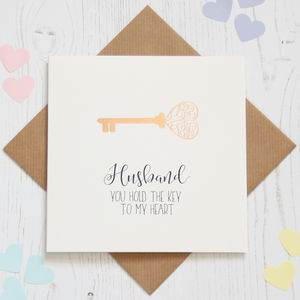Personalised Rose Gold Foil 'Key' Card