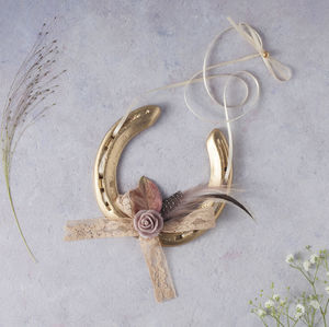 Gold Camille Blush Lucky Wedding Horseshoe - room decorations