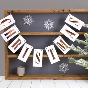 Rose Gold Foil Christmas Bunting - garlands & bunting