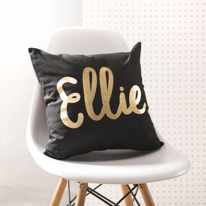Personalised Black And Gold Name Cushion