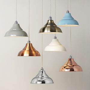 Vintage Metal Pendant Lampshades With Optional Cord Set - ceiling lights