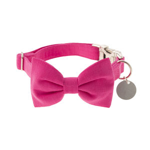 Fuchsia Pink Bow Tie Dog Collar - pet collars