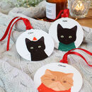 Personalised Christmas Cat, Metal Bauble