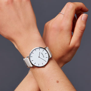Grey And Silver Vegan Leather Watch