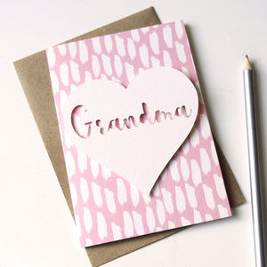 'Grandma' Papercut Love Heart Mother's Day Card