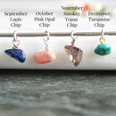 september lapis, october opal, november topaz, december turquoise birthstone chips
